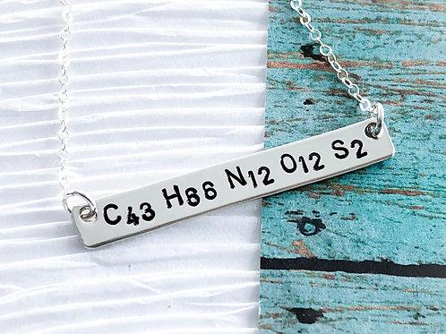 Oxytocin Bar Necklace, Love Hormone Chemical Formula