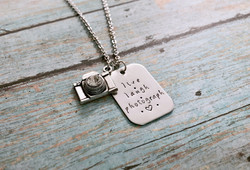 stainless steel live laugh photograph necklace 1