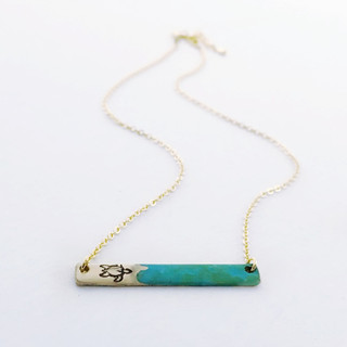 Turtle Rlease Painted Bar Necklace