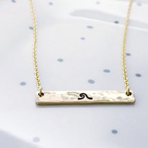 wave bar necklace gold