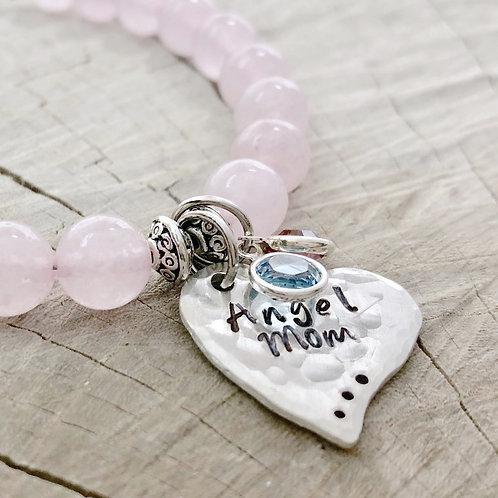 Angel Mom, Rose Quartz Beaded Bracelet, Sterling Silver, Hammered Heart