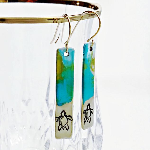 Turtle Rlease Painted Earrings
