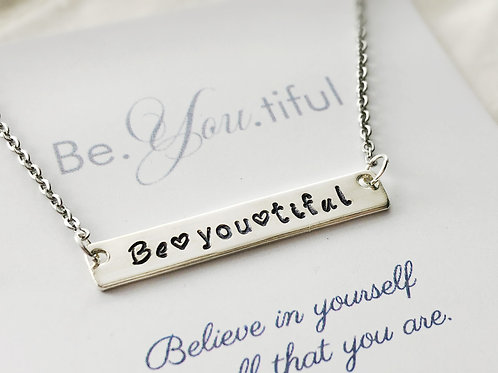 Be You Tiful - Sterling Silver Bar Necklace