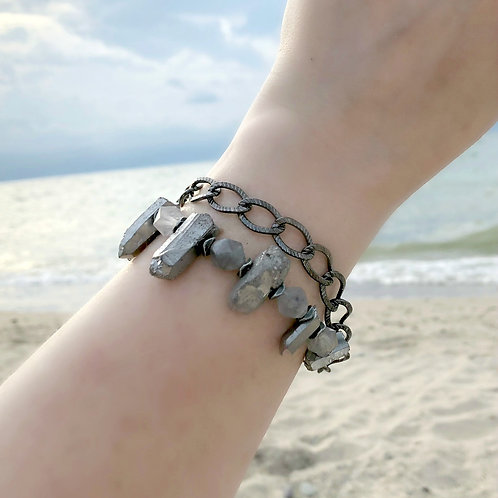 Silver Quartz Spike, Statement Bracelet