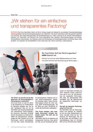 Veröffentlichung Zahnarzt Wirtschaft Praxis - ZWP