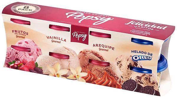 Que delicia cuatro vasitos de Helados Popsy, ideal para un regalo vía un domicilio a un muy buen precio. Pídelo a domiclio por Domicilios Helados Popsy desde tu heladería más cercana.