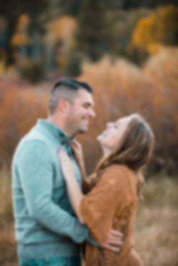 husband and wife embrace fall photo hope valley california