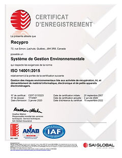 Certificat ISO - SAI GLOBAL 2020-2022-pa