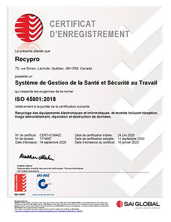 Certificat ISO 45001 - SAI GLOBAL 2020-2