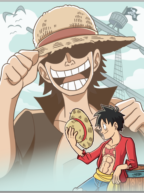 8.5x11 Young Gol D. Roger and Luffy Print, One Piece