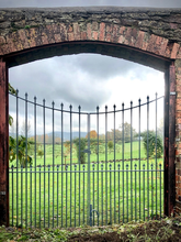 Bespoke fabricated steel gate with cast iron finials designed to fit into a section of a walled garden than originally contained a wooden door.