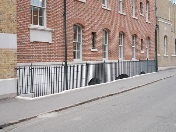 Architectural metal railings with finials