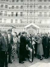 Photo of Margret Thatcher taken outside the Grand Hotel in Brighton this was taken after Britannia had carried out the cast iron restoration work to the balconies and entranceway after the bombing.