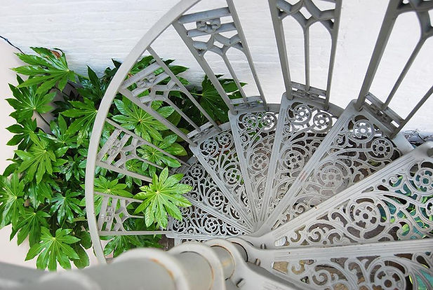 Decorative metal spiral staircase