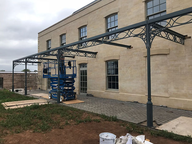 Pergola during construction