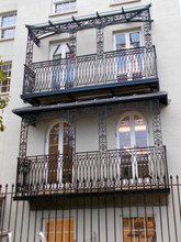 Two canopy balconies we installed in London – Constructed from cast iron and fabricated mild steel elements these are truly high-quality examples of traditional architectural metalwork.