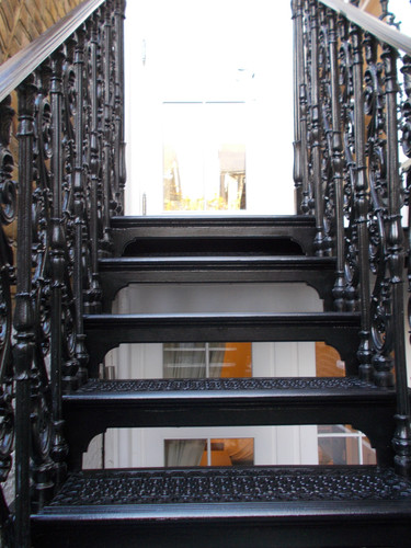 A closer look at the casting detail on one of our straight staircases. You can see the beautifully ornate cast balusters and a clear example of one of our popular tread patterns.