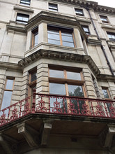 Intricate cast iron balcony - central London.