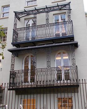 Decorative canopied balcony