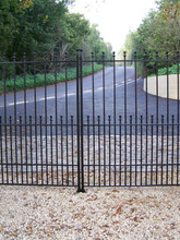 Simple fabricated steel double entrance gate