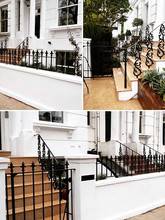 Classic London cast iron railings – cast balustrade for stone steps -  wall top railings ad gate with cast iron finials.