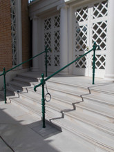 Cast iron posts and handrails.