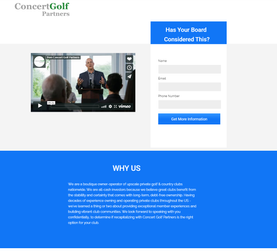 A landing page that included a company video and about section
