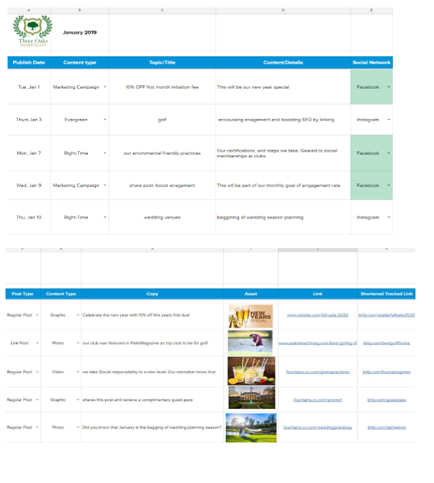 Curated a possible content calendar with ideas for a variety of post that would aid in promoting country club's events and promotions