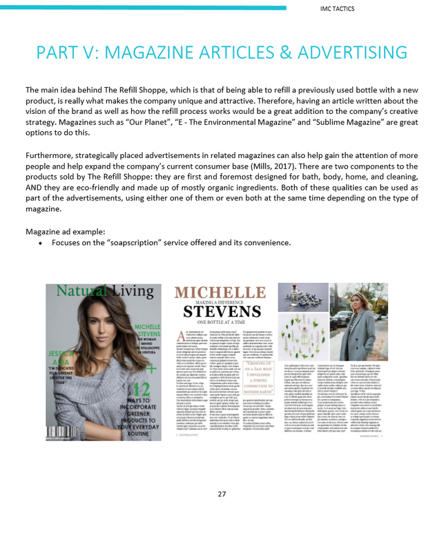Part of a 50+page proposal, This was showcasing ideas of  possible print outlets that would be interested in The Refill Shoppe's story to create brand awareness.  The example magazine example was made using Adobe Indesign.
