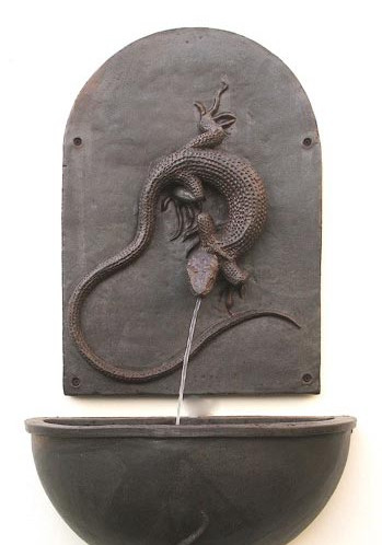 LIZARD WALL FOUNTAIN, WALL BOWL AND BRACKET