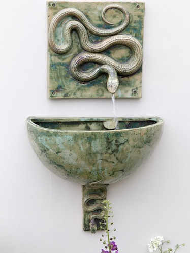 SNAKE WALL FOUNTAIN, BOWL AND BRACKET