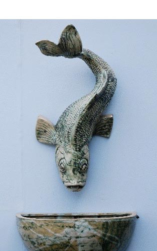 LARGE FISH WALL SPOUT, WALL BOWL AND BRACKET