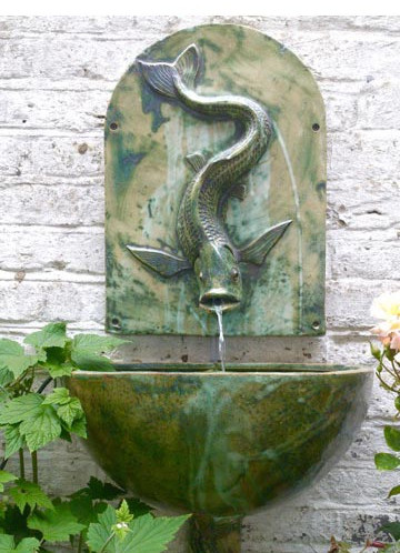 FISH FOUNTAINHEAD , BOWL AND BRACKET