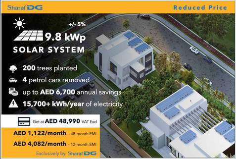 9.8 kWp DEWA-connected Rooftop Solar System, with Sharaf DG's Solar Installment Plan up to 48 months.