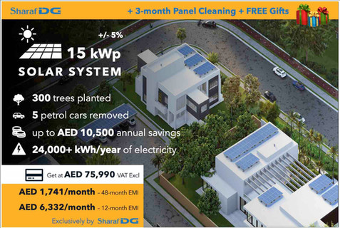 15 kWp DEWA-connected Rooftop Solar System, with Sharaf DG's Solar Installment Plan up to 48 months.