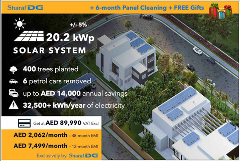 20.2 kWp DEWA-connected Rooftop Solar System, with Sharaf DG's Solar Installment Plan up to 48 months.