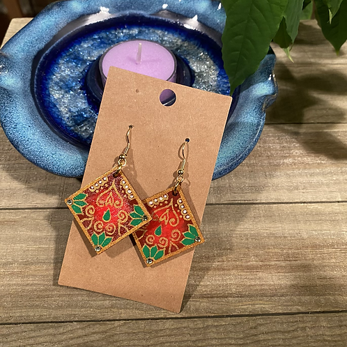 Red Square Earrings