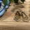 Thumbnail: Gold and Black Dangle Earrings