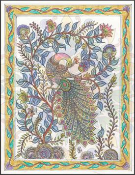 Peacock in kalamkari