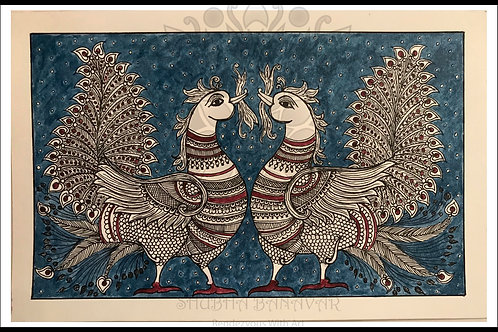 Peacocks in Kalamkari