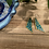 Thumbnail: Blue and Gold Dangle Earrings