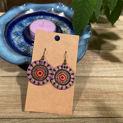 Purple and Gold Round Earrings