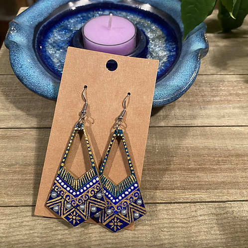 Blue Green and Gold Dangle Earrings