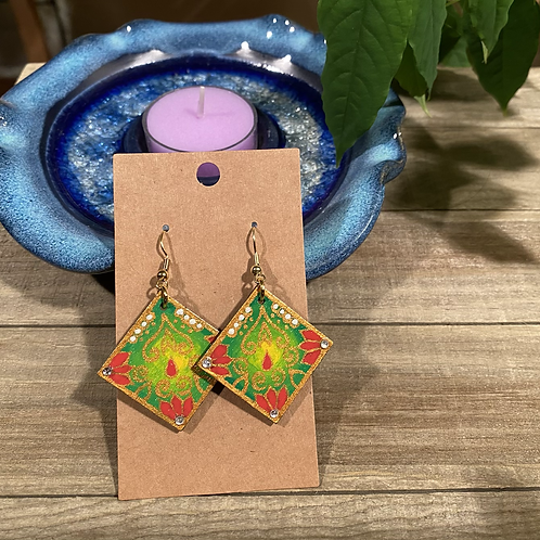 Green and Yellow Square Earrings