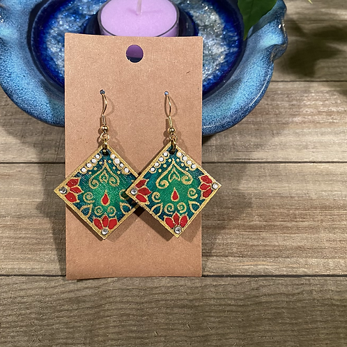 Green and Red Square Earrings