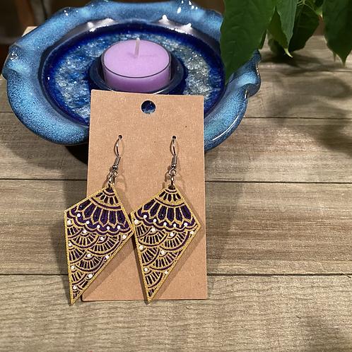 Grape Purple and Gold Dangle Earrings