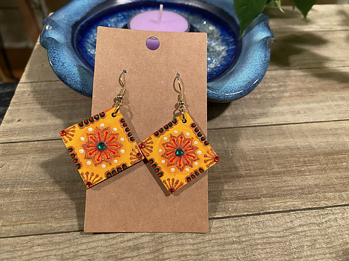 Yellow and Copper Square Earrings