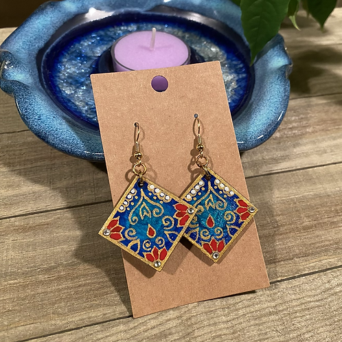 Blue and Red Square Earrings