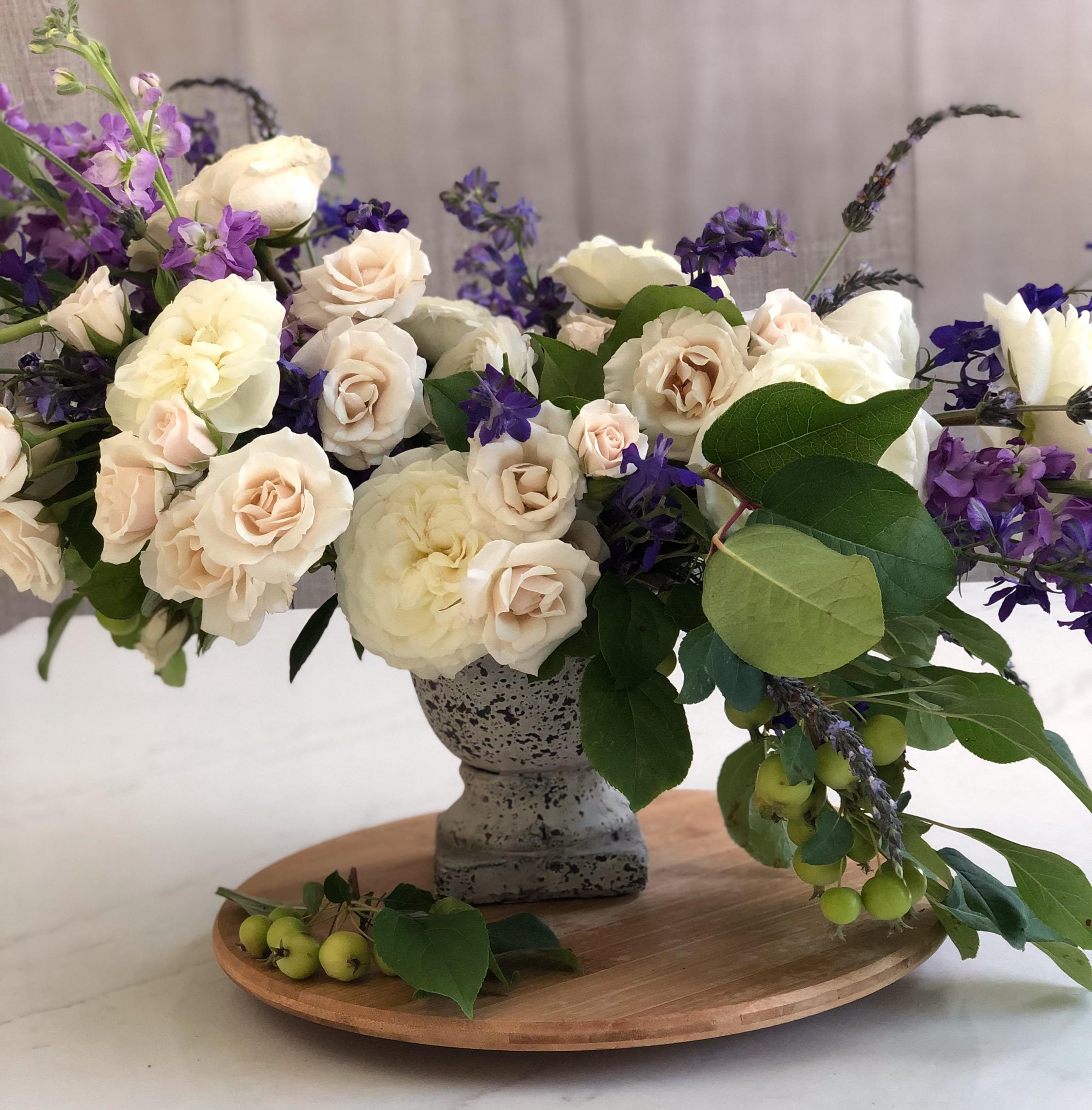 Cream & Purple Accent Flowers
