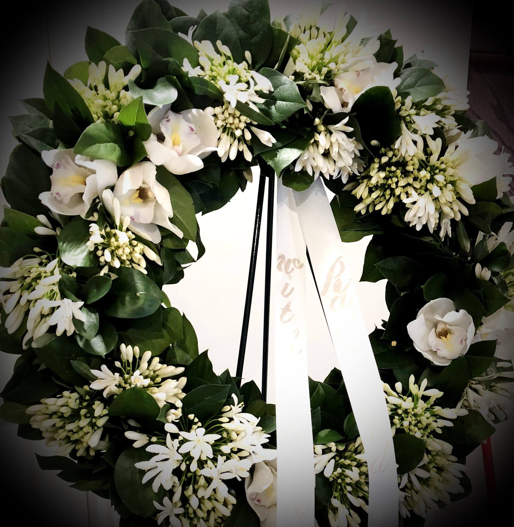 Orchid Funeral Wreath